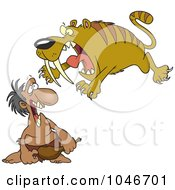 Royalty Free RF Clip Art Illustration Of A Cartoon Saber Tooth Tiger Attacking A Caveman by toonaday