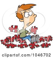 Poster, Art Print Of Cartoon Confused Boy With Similar Puzzle Pieces