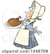 Cartoon Lady Pilgrim Serving A Turkey
