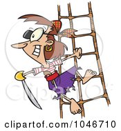 Royalty Free RF Clip Art Illustration Of A Cartoon Pirate Woman Holding A Sword