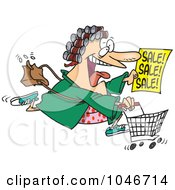 Royalty Free RF Clip Art Illustration Of A Cartoon Woman In Her Robe And Curlers Running To A Sale by toonaday