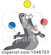 Royalty Free RF Clip Art Illustration Of A Cartoon Juggling Seal by toonaday