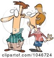 Royalty Free RF Clip Art Illustration Of A Cartoon Lady Telling A Man A Secret