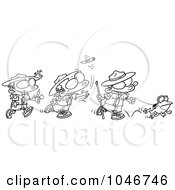 Royalty Free RF Clip Art Illustration Of A Cartoon Black And White Outline Design Of A Group Of Boy Scouts Outdoors by Ron Leishman