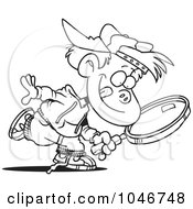 Royalty Free RF Clip Art Illustration Of A Cartoon Black And White Outline Design Of A Boy Seeking With A Magnifying Glass