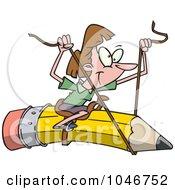 Royalty Free RF Clip Art Illustration Of A Cartoon Businesswoman Riding A Pencil