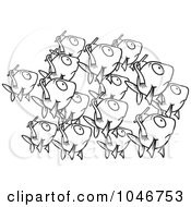 Royalty Free RF Clip Art Illustration Of A Cartoon Black And White Outline Design Of A School Of Fish