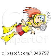 Royalty Free RF Clip Art Illustration Of A Cartoon Scuba Diving Boy