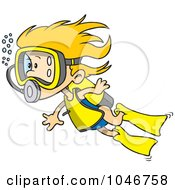 Royalty Free RF Clip Art Illustration Of A Cartoon Scuba Girl Swimming