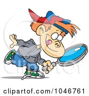 Royalty Free RF Clip Art Illustration Of A Cartoon Boy Seeking With A Magnifying Glass