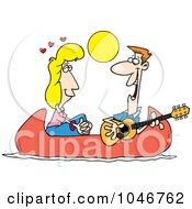 Royalty Free RF Clip Art Illustration Of A Cartoon Couple On A Romantic Date In A Canoe by toonaday