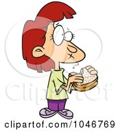 Royalty Free RF Clip Art Illustration Of A Cartoon Girl Eating A Sandwich by toonaday