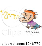 Royalty Free RF Clip Art Illustration Of A Cartoon Infatuated Boy Following A Scent by toonaday