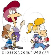 Royalty Free RF Clip Art Illustration Of A Cartoon Boy Crying On His Sisters First Day Of School by toonaday