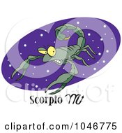 Royalty Free RF Clip Art Illustration Of A Cartoon Scorpio Scorpion Over A Purple Oval
