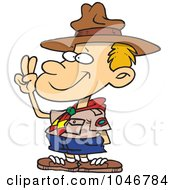 Royalty Free RF Clip Art Illustration Of A Cartoon Boy Scout Taking An Oath by Ron Leishman