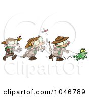 Royalty Free RF Clip Art Illustration Of A Cartoon Group Of Boy Scouts Outdoors by Ron Leishman