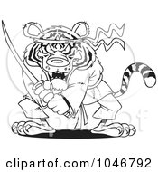 Royalty Free RF Clip Art Illustration Of A Cartoon Black And White Outline Design Of A Samurai Tiger With A Sword by toonaday