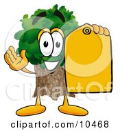 Tree Mascot Cartoon Character Holding A Yellow Sales Price Tag