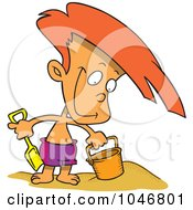 Royalty Free RF Clip Art Illustration Of A Cartoon Boy Playing In The Sand