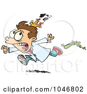 Royalty Free RF Clip Art Illustration Of A Cartoon Boy On Fire During A Science Experiment by toonaday