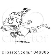 Royalty Free RF Clip Art Illustration Of A Cartoon Black And White Outline Design Of A Boy On Fire During A Science Experiment