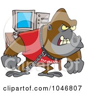 Royalty Free RF Clip Art Illustration Of A Cartoon Computer Security Gorilla by toonaday