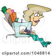 Royalty Free RF Clip Art Illustration Of A Cartoon Seamstress Sewing