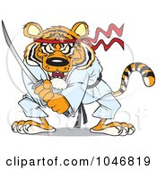 Royalty Free RF Clip Art Illustration Of A Cartoon Samurai Tiger With A Sword