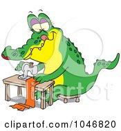 Cartoon Sewing Alligator