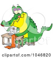 Royalty Free RF Clip Art Illustration Of A Cartoon Sewing Alligator
