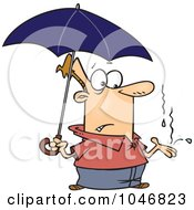 Cartoon Man Catching Raindrops In His Hand