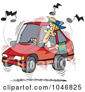 Royalty Free RF Clip Art Illustration Of A Cartoon Man Blaring Rap Music In His Car by toonaday