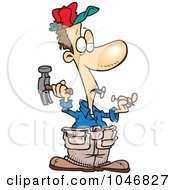 Royalty Free RF Clip Art Illustration Of A Cartoon Carpenter Holding Nails In His Teeth by toonaday