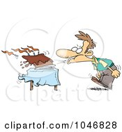 Royalty Free RF Clip Art Illustration Of A Cartoon Man Blowing Out The Candles On His Birthday Cake by toonaday