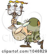 Royalty Free RF Clip Art Illustration Of A Cartoon Hunchback Man Carrying A Candelabra by toonaday