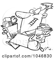 Royalty Free RF Clip Art Illustration Of A Cartoon Black And White Outline Design Of A Man Carrying Out Groceries