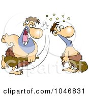 Royalty Free RF Clip Art Illustration Of A Cartoon Caveman Hitting Another With A Club by toonaday