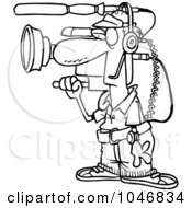 Royalty Free RF Clip Art Illustration Of A Cartoon Black And White Outline Design Of A Working Camera Man by toonaday