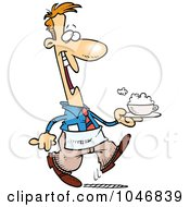 Royalty Free RF Clip Art Illustration Of A Cartoon Waiter Serving A Cappuccino by toonaday