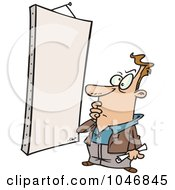 Royalty Free RF Clip Art Illustration Of A Cartoon Man Staring At A Blank Canvas by toonaday