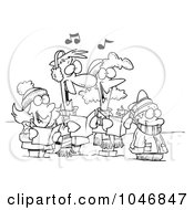 Cartoon Black And White Outline Design Of A Family Singing Christmas Carols