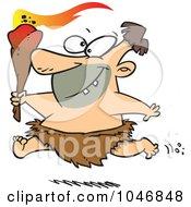 Cartoon Caveman Running With A Torch