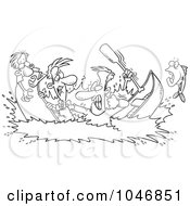 Royalty Free RF Clip Art Illustration Of A Cartoon Black And White Outline Design Of Men In A Canoe War by toonaday
