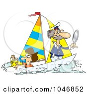 Royalty Free RF Clip Art Illustration Of A Cartoon Woman Scooping Buckets Of Water Out Of A Sailboat by toonaday