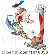 Royalty Free RF Clip Art Illustration Of A Cartoon Carny Man Banging A Strong Hammer by toonaday