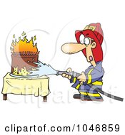 Royalty Free RF Clip Art Illustration Of A Cartoon Fireman Extinguishing A Birthday Cake by Ron Leishman
