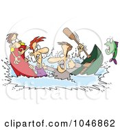 Cartoon Men In A Canoe War