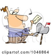 Royalty Free RF Clip Art Illustration Of A Cartoon Man Checking His Mail
