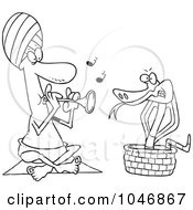 Royalty Free RF Clip Art Illustration Of A Cartoon Black And White Outline Design Of A Snake Charmer by toonaday